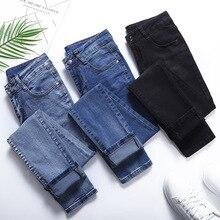 Invierno cálido grueso polar 2019 Jeans para mujeres Skinny cintura alta Jeans Mujer Denim lápiz Pantalones mujer pantalones vaqueros más tamaño