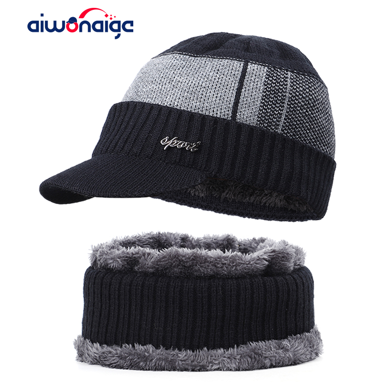 Fashion Men's Winter Hat Scarf Set Outdoor Warm 2 Piece Plus Velvet Thick Plaid Cotton Cap Casual Letter Label Ski Hat Bib