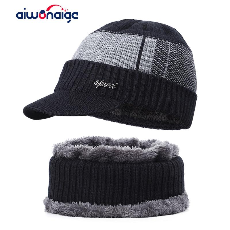 Fashion Men's Winter Hat Scarf Set Outdoor Warm 2 Piece Plus Velvet Thick Plaid Cotton Cap Casual Letter Label Ski Hat Bib