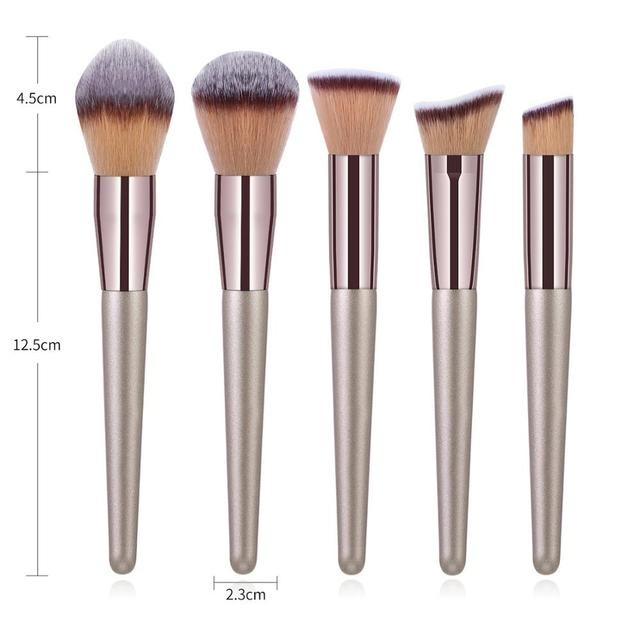 La Milee Champagne Makeup Brushes Set Foundation Powder Blush Eyeshadow Concealer Lip Eye Make Up Brush Cosmetics Beauty Tools 2