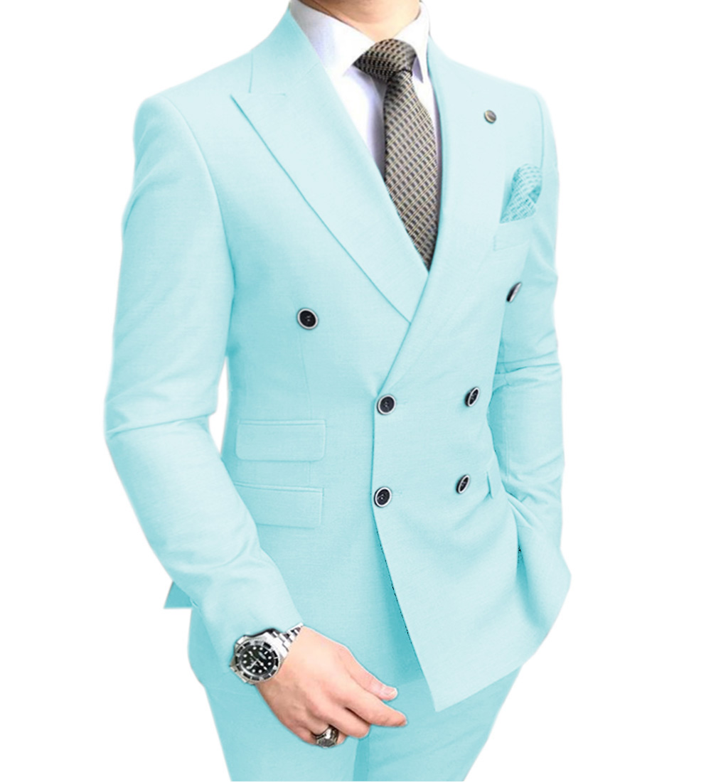 Solovedress Peak Lapel Double Breasted Solid Mens Prom Wedding Suit 2 Pieces RegularFit Casual Premium Aqua Blue Tuxedos