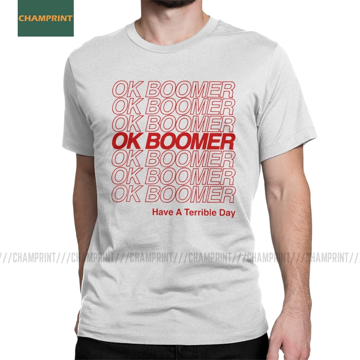 Casual OK Boomer T-Shirt for Men Crew Neck Pure Cotton T Shirt Quote Generation Z Okay Meme Short Sleeve Tees Plus Size Tops image
