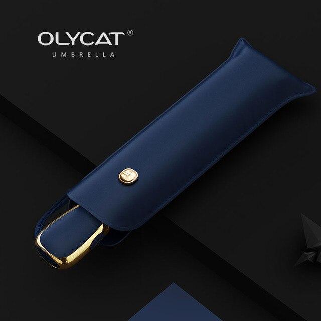 Sombrilla automática plana OLYCAT, sombrilla ultraligera para mujeres, sombrilla de viaje para niñas, sombrillas plegables portátiles de Anti UV, 6 costillas, sombrilla 3
