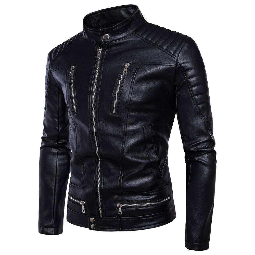 2019 New Autumn Male Leather Jacket Plus Size 5XL Black Mens Stand Collar Coats Leather Biker Jackets Men warm jaqueta de couro in Faux Leather Coats from Men 39 s Clothing