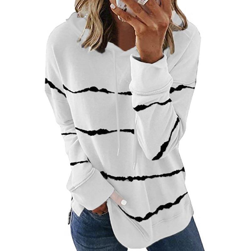 Oversize Women Tie Dye Drawstring Hooded Sweatshirt Autumn 2020 New Winter Long Sleeve Casual Loose Hoodies Tops Plus Size S-5XL 12