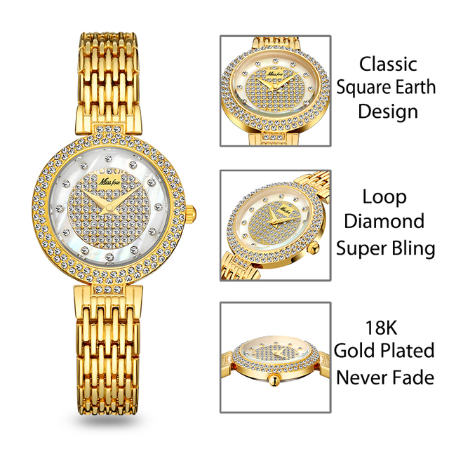 MISSFOX Women's Watches Fashion Luxury Brand Full Lab Diamond Gold Women's Wristwatch Bling Casual Ladies Quartz Watch Clock New 2
