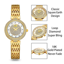 Women's Fashion Luxury Diamond Gold Wristwatch