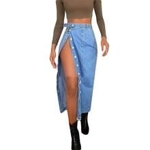 Jeans Skirt Button High-Slit Sexy Long Blue Fashion Women Summer Female S-2XL