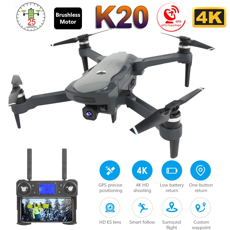 2019 novo zangão k20 com 4 k câmera dupla gps um chave retorno modo headless siga me círculo voar rc drones brinquedos