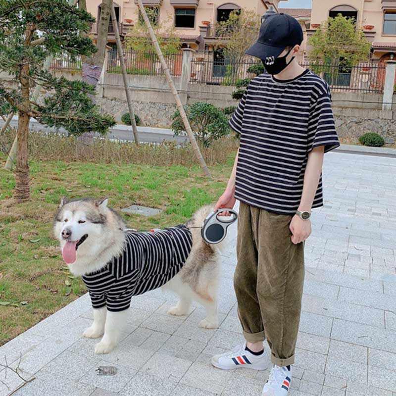 Çizgili Pet Gömlek Giyim Orta Büyük Köpekler için Kostüm Labrador S-6XL Büyük Köpek Kostümü Ropa Perro Golden Retriever Evcil Hayvan Giysileri