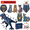 Tyrannosaurus 3D Wooden Puzzle Adult Kids Jigsaw Puzzles DIY Wooden Animal Puzzle Gift Box Packaging Children Holiday Gifts Toys