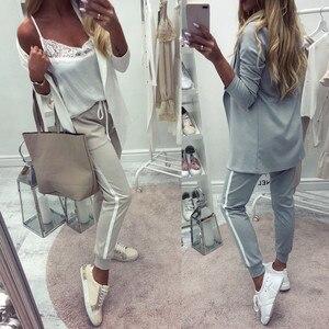 Image 4 - Taotrees נשים של תלבושות ספורט חליפת אביב אימונית נשי דש בלייזר jacket + מכנסיים שתי חתיכה תלבושות