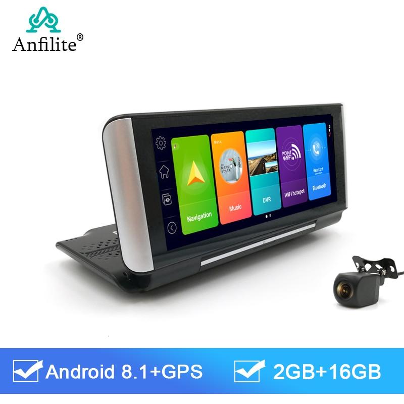 Anfilite 7 Cal 4G Android 8.1 wideorejestrator samochodowy 2GB + 16GB nawigacja GPS ADAS samochodowy rejestrator wideo podwójny obiektyw aparat z panelem monitor do parkowania