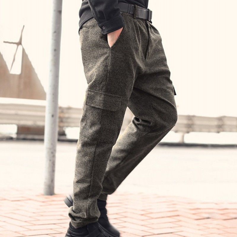 England Style Gray Casual Trousers Men High Street Slim Zipper Cargo Pants Spring Autumn Fashion 2020 Business Pants S-2XL