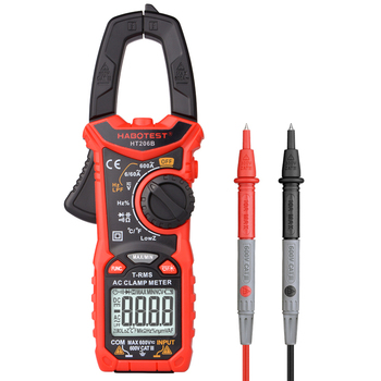 цена на HABOTEST HT206 AC DC Digital Clamp Meter Multimeter Pinza Amperimetrica True RMS High Precision Capacitance NCV Ohm Hz Tester