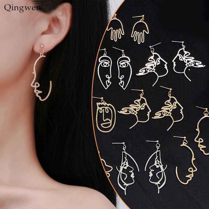 Qingwen Girls Face Shape Earrings Retro Metal Fashion Abstract Hollow Out Dangle Earrings women earring Gift Jewelry CE05114