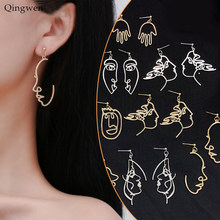 Qingwen Meisjes Gezicht Vorm Oorbellen Retro Metalen Mode Abstracte Hollow Out Dangle Oorbellen vrouwen earring Gift Sieraden CE05114(China)