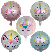1pcs 18 inch unicorn Flowers Balloon pink color unicorn party wedding birthday decoration supplies kids Helium balloons Globos(China)