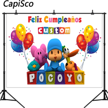 Capisco Photography Backdrop Cartoon Characters Pocoyo Birthday Party Baby Child Colorful Balloon Photo Backgrounds for Studio