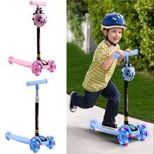 Scooter Tricks Kids Children's 3 for Led-Wheel Sport-Toy T-Bar Birthday-Gift Adjustable