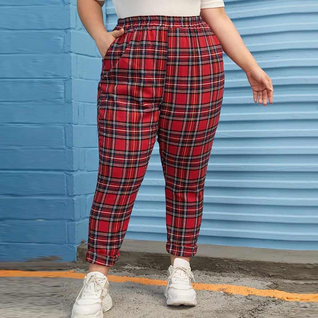 Pantalones Clasicos A Cuadros Para Mujer Pantalones Largos Informales De Talla Grande Para Correr Pantalones Deportivos De Cintura Elastica De Otono Para Mujer Pantalones Con Bolsillos Novedad Pantalones Y Pantalones Capri Aliexpress