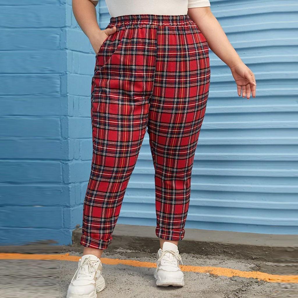 Classic Plaid Women Pencil Pant Plus Size Casual Long Pant Lady Autumn Elastic Waist Sport Running Trousers Pockets Bottoms New