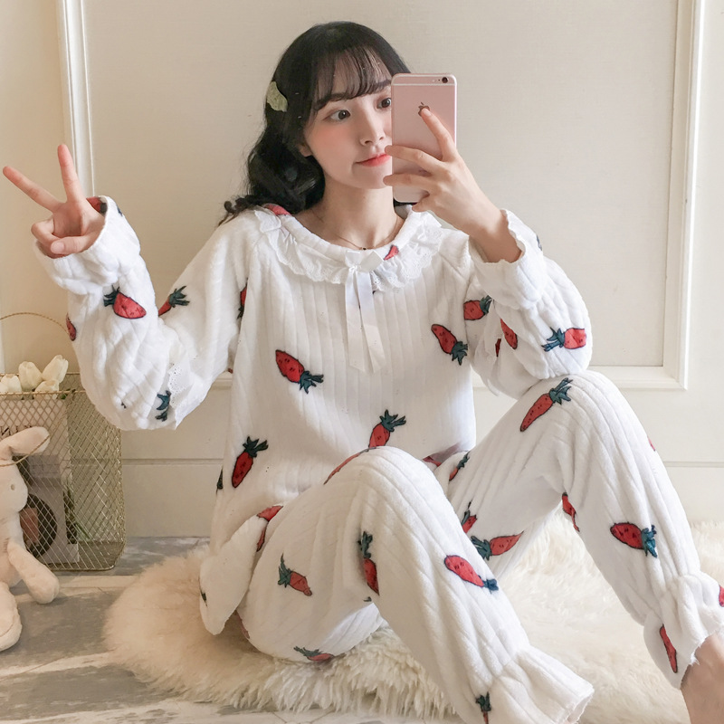 Korean-style Princess Style Coral Velvet Pajamas Women's Autumn And Winter GIRL'S Shirt Flannel Lace Edge Homewear Set