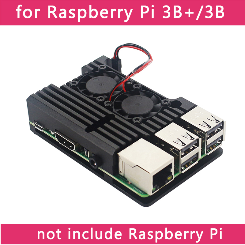 cheapest Dual Fans Raspberry Pi 4 Model B 3B  3B 4 Color Aluminum Metal Case with Super Two Cooling Fan  Heat Sinks for Raspberry Pi 4 3