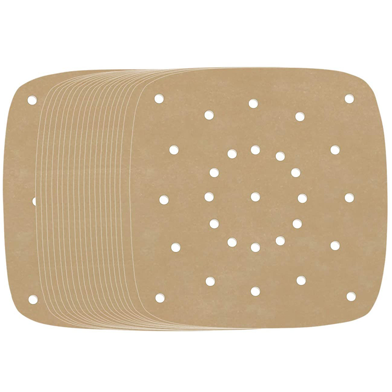 Air Fryer Pads, 200 Sheets, 7.5 Inch Unbleached Square Air Fryer Pads / Steamer Paper / Silicone Paper