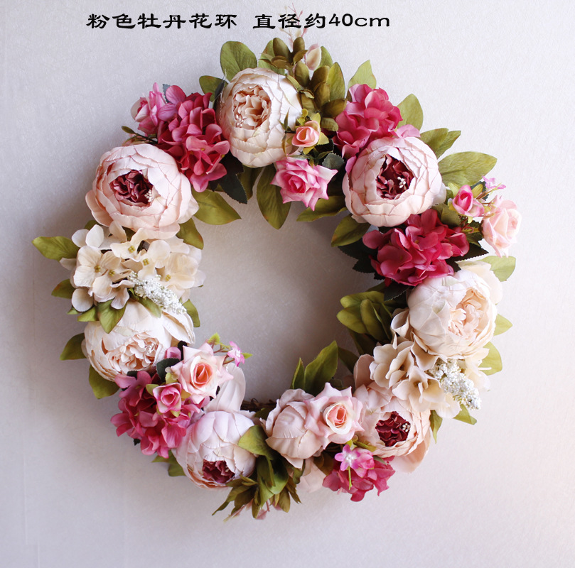 Simulation christmas wreathes decorations for home door decoration floral wreath christmas garland flower leis Wedding wreath