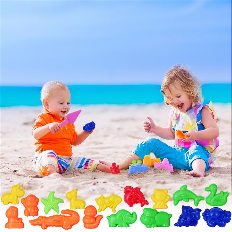 TOYMYTOY 27PCS Sand Molding Toys Kid's Summer Beach Toys Sand Play Set With Castle Animal Sand Molds And Tools (Random Color)