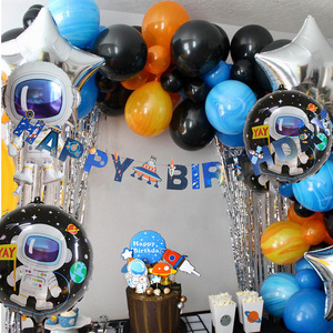 Outer Space Birthday Party Decorations Solar System Planets Happy Birthday Banner Galaxy Astronaut theme Cake Toppers decor