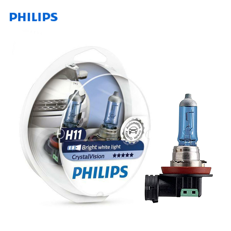 Philips H11 12V 55W Crystal Vision 4300K Halogen Bulbs Bright White Light Car Lamps Stylish Look UV Resistant 12362CVSM, Pair