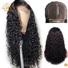 150 плотность 4x4 закрытие парик перуанские человеческие волосы волна парики 4x4 парики для чернокожих Для женщин солнечного света Реми человеческие парики шнурка