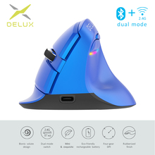 Delux M618 Mini 2.4GHz Wireless Silent Click Mouse 2400 DPI Ergonomic Rechargeable Vertical Mice with Bluetooth 4.0 Mode for PC