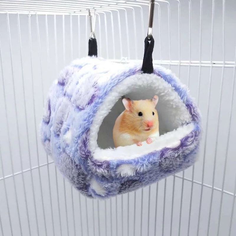 Winter Plush Hamster Nest Small Animal Pets Cage Hanging Hammock Guinea Pig Squirrel Mice Rat Sleepping Bed Keep Warm Nest House