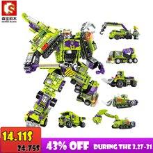 Sembo blok 6 In 1 Mecha çelik dönüşüm tuğla kamyon iş makinesi yapı taşı seti oyuncaklar çocuklar için