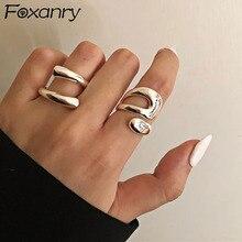 Foxanry минималистский 925 Серебряные кольца для женщин модные креативные полые неправильные геометрические на день рождения вечерние ювелирн...