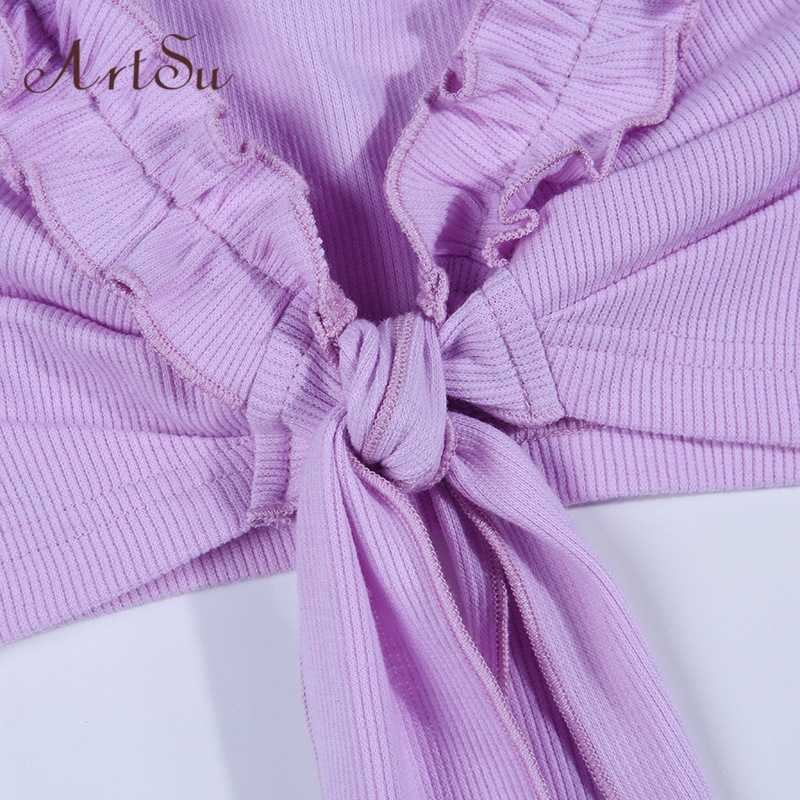 Artsu bonito roxo arco bustier mujer colheita topo feminino camis verão sexy espaguete cinta superior camisola feminina cropped topos asve60565