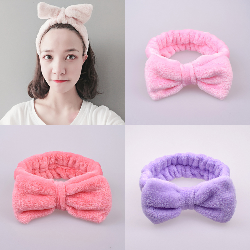 Coral Fleece Hair Bow Cross Women Headband For Wash Face Makeup Lady Bath Mask Cosmetic Hairband Girl Holder Hair Accessories