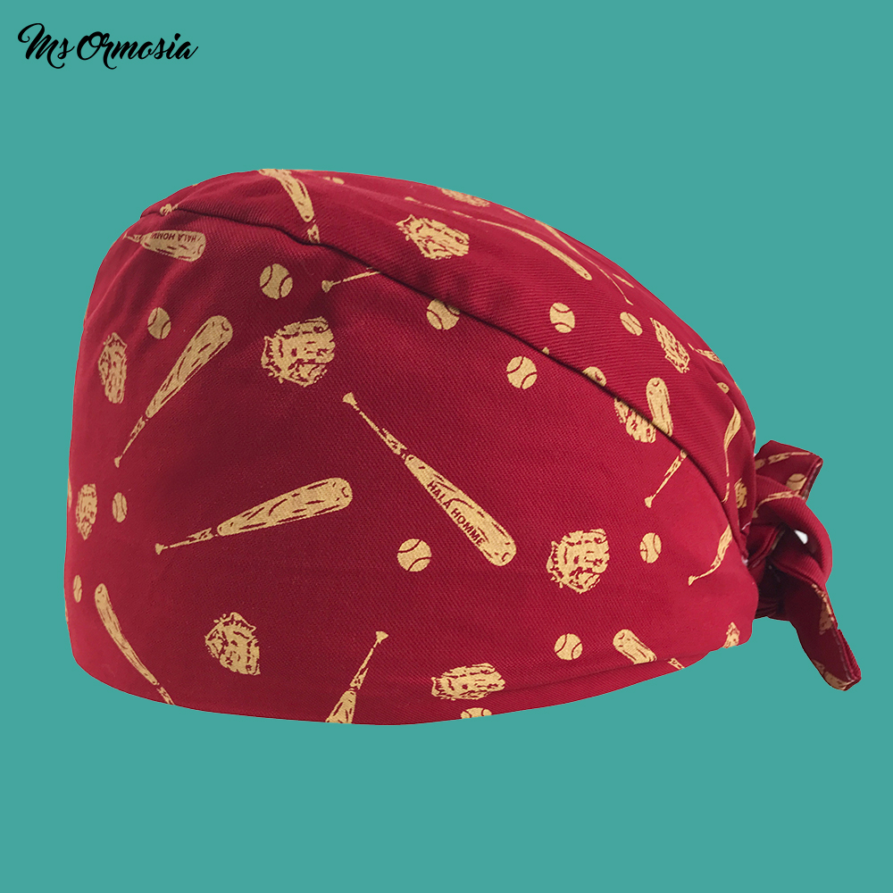 High Quality Red Cartoon Printing Men And Women 100% Cotton Pharmacy Nurse Cap Elastic Band Surgical Cap Hospital Doctor Cap New