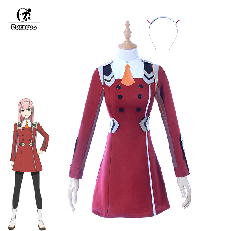 ROLECOS Zero Two Cosplay Costume Japanese Anime DARLING In The FRANXX 02 Cosplay Costume Women Cosplay Sexy Dress Full Set