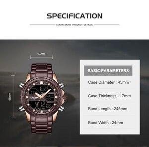 Image 4 - Naviforce relógios masculinos marca de luxo militar à prova dwaterproof água led digital esporte relógio masculino aço inoxidável 9138