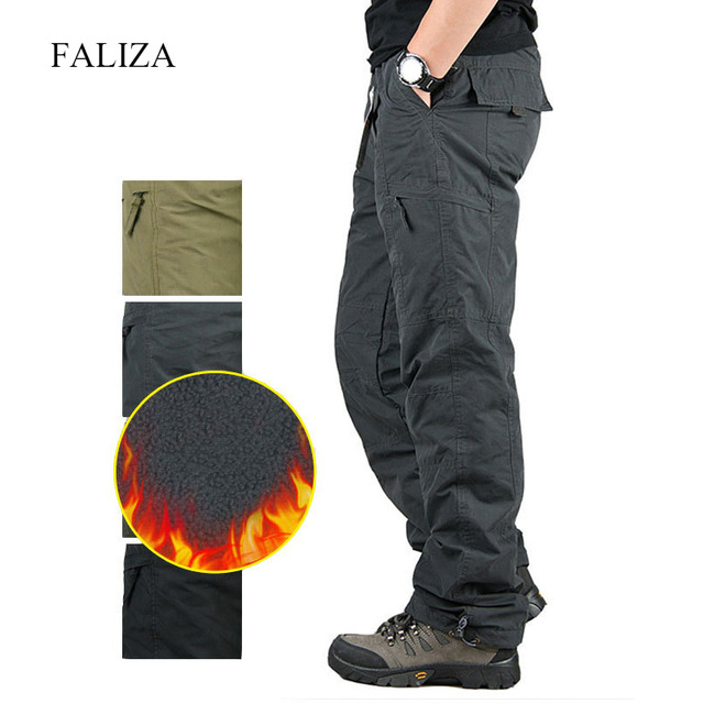 Men's Cargo Pants Thick Fleece Multi Pockets Military Tactical Pants Cotton Men Outwear Straight Casual Trousers for Winter PA23 3