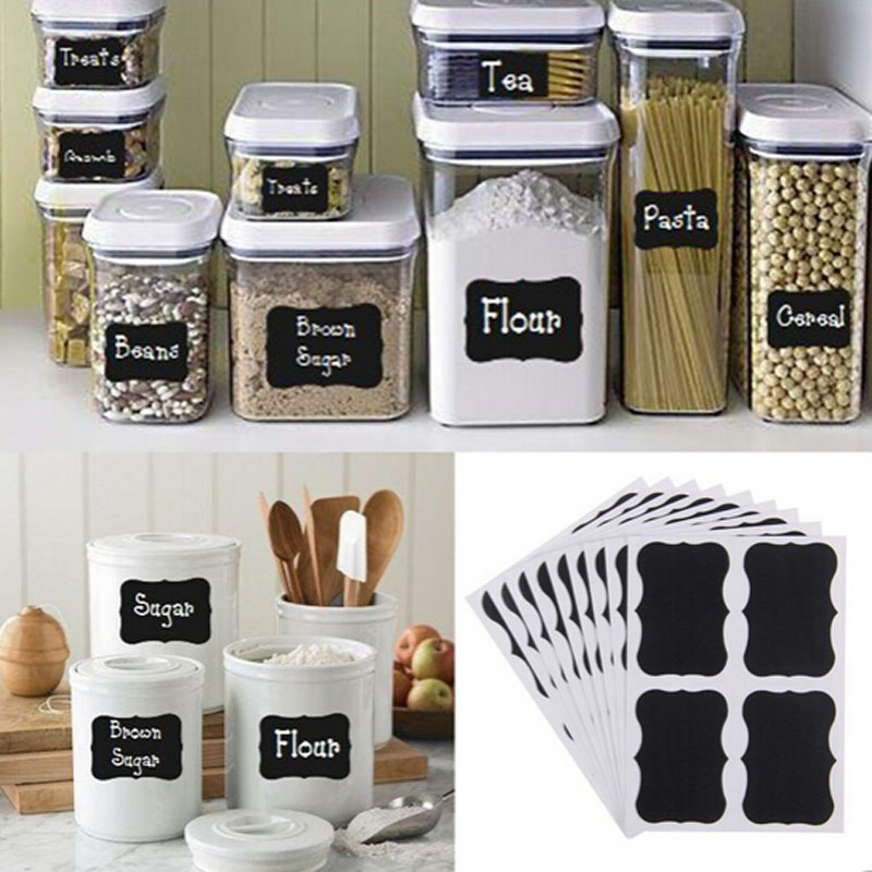 Stickers. Board Label-Labels Decor Jam-Jar Black Kitchen 36pcs 5cm-X-3.5cm Fancy title=