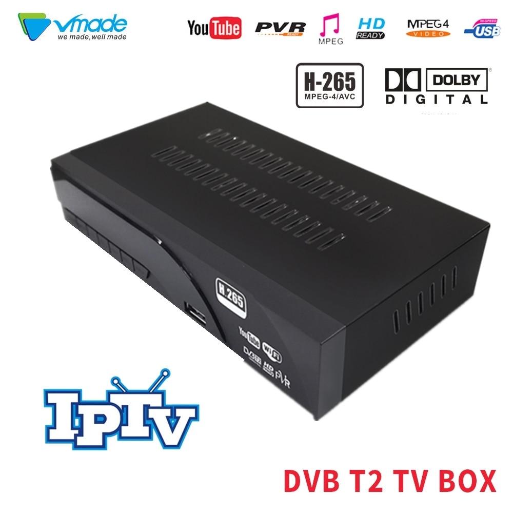 Vmade DVB-T2 no receptor terrestre caixa de tv com tv scart h.265 hd completo 1080 p suporte ac3 dolby wifi youtube tptv definir caixas superiores