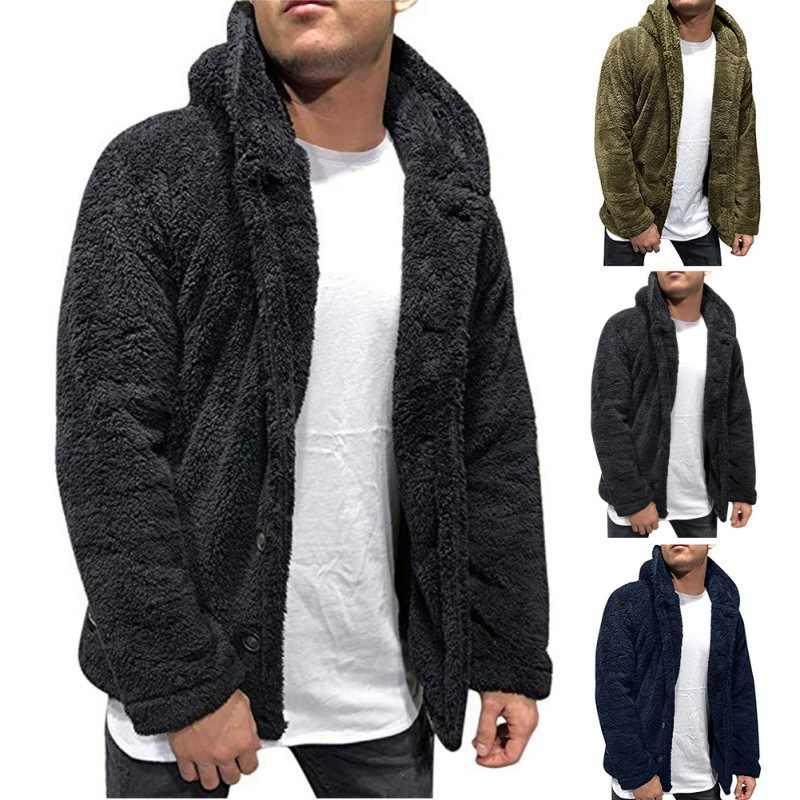 M 2020 남자 코트 털이 까마귀 스웨터 가을 겨울 따뜻한 양 털 카디 건 단추와 패션 캐주얼 테 디 코트와 포켓