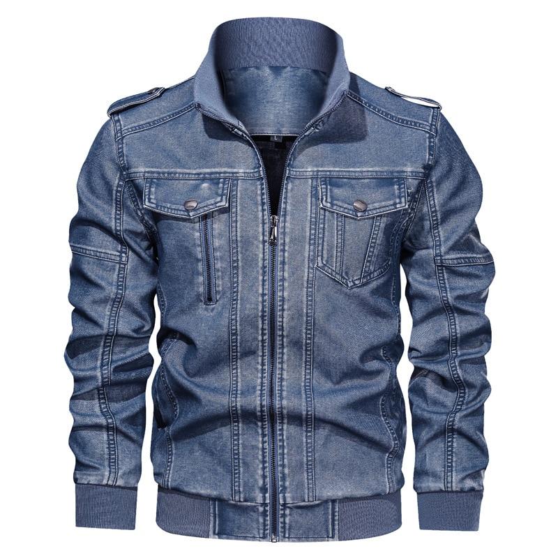 Puimentiua Mens autumn winter jacket leather bomber mens military uniform leisure motorcycle PU