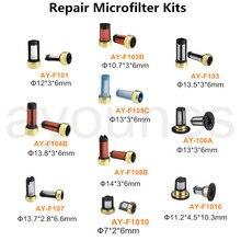 O envio gratuito de 1000 pces micro filtro kits com 10 tipos filtro injeção combustível para carros japão e honda carros