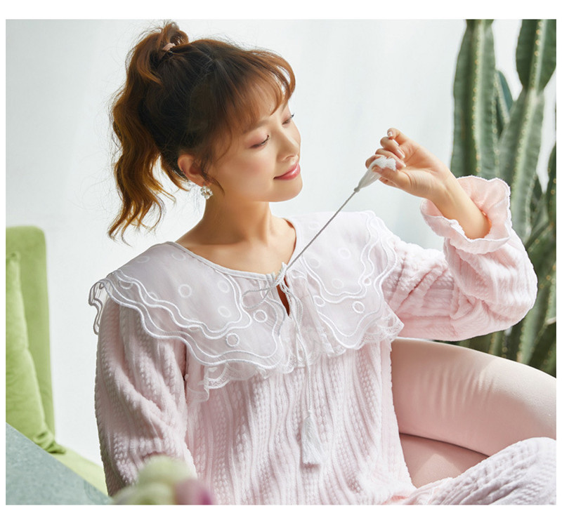 JULY'S SONG Flannel Women Pajama Sets Sleepwear Air Cotton Winter Pajamas Thick Warm Lace Long Sleeves Full Trousers Homewear 35